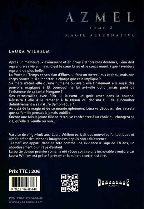 Photo verso du livre:AZMEL Tome 2 :Magie Alternative par Laura Wilhelm